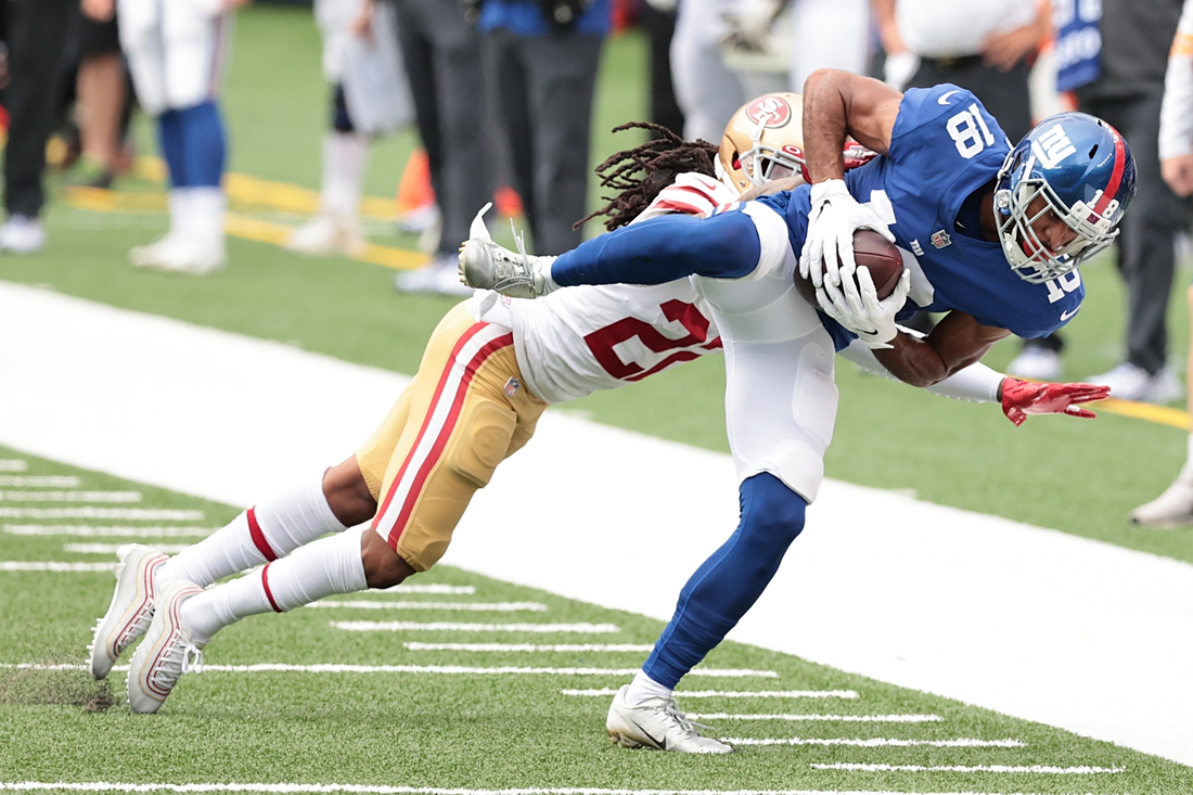 Sep 27, 2020; East Rutherford, New Jersey, USA; New York Giants wide receiver C.J. Board (18) is tackled by San Francisco 49ers cornerback Jason Verrett (22) during the second half at MetLife Stadium. Mandatory Credit: Vincent Carchietta-USA TODAY Sports