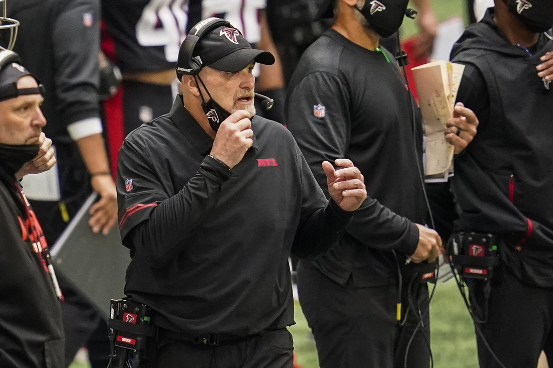 Sep 27, 2020; Atlanta, Georgia, USA; Atlanta Falcons head coach Dan Quinn shown on the sideline after an interception by the Chicago Bears during the fourth quarter at Mercedes-Benz Stadium. Mandatory Credit: Dale Zanine-USA TODAY Sports