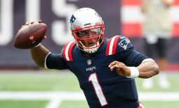Sep 27, 2020; Foxborough, Massachusetts, USA; New England Patriots quarterback Cam Newton (1) looks to pass against the Las Vegas Raiders during the fourth quarter at Gillette Stadium. Mandatory Credit: Brian Fluharty-USA TODAY Sports