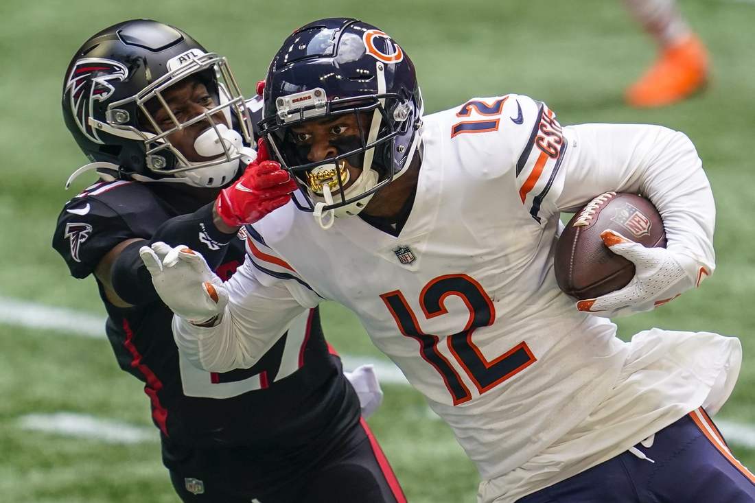 Sep 27, 2020; Atlanta, Georgia, USA; Chicago Bears wide receiver Allen Robinson II (12) runs against Atlanta Falcons safety Damontae Kazee (27) during the first half at Mercedes-Benz Stadium. Mandatory Credit: Dale Zanine-USA TODAY Sports
