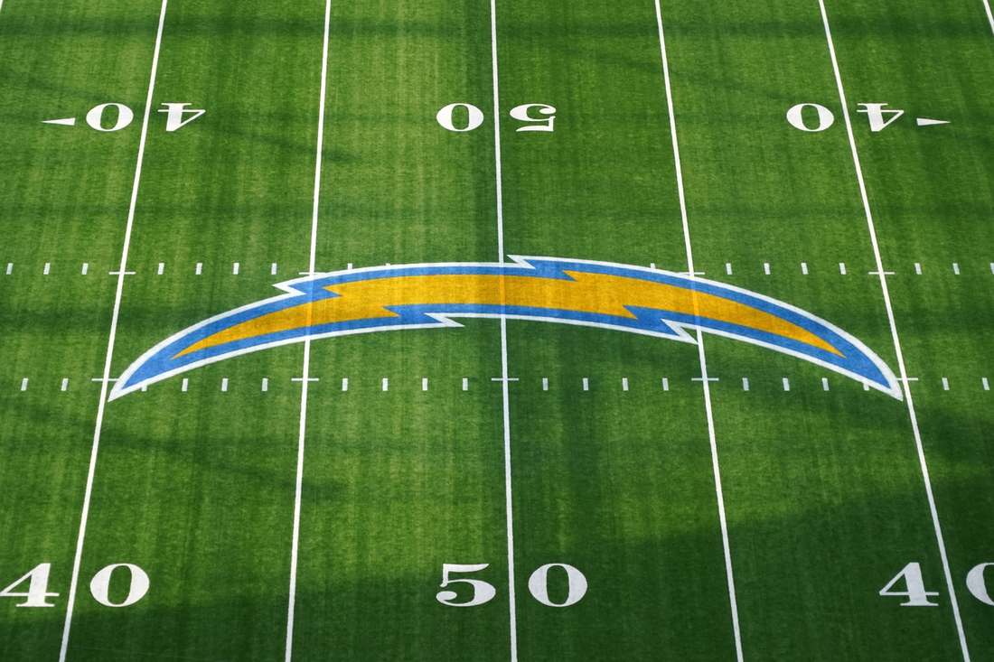 Sep 27, 2020; Inglewood, California, USA; A general view of the Los Angeles Chargers bolt logo at midfield during the game against the Carolina Panthers  at SoFi Stadium. The Panthers defeated the Chargers 21-16. Mandatory Credit: Kirby Lee-USA TODAY Sports