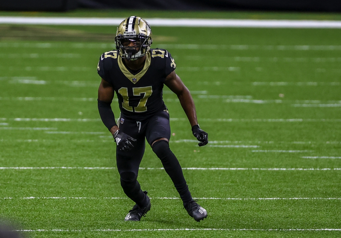 Sep 27, 2020; New Orleans, Louisiana, USA; New Orleans Saints wide receiver Emmanuel Sanders (17) runs a route against the Green Bay Packers during the second quarter at the Mercedes-Benz Superdome. Mandatory Credit: Derick E. Hingle-USA TODAY Sports