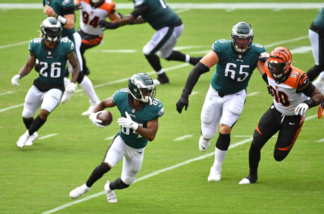 Sep 27, 2020; Philadelphia, Pennsylvania, USA; Philadelphia Eagles wide receiver Greg Ward (84) looks for room to run after a catch against the Cincinnati Bengals during the first quarter at Lincoln Financial Field. Mandatory Credit: Eric Hartline-USA TODAY Sports