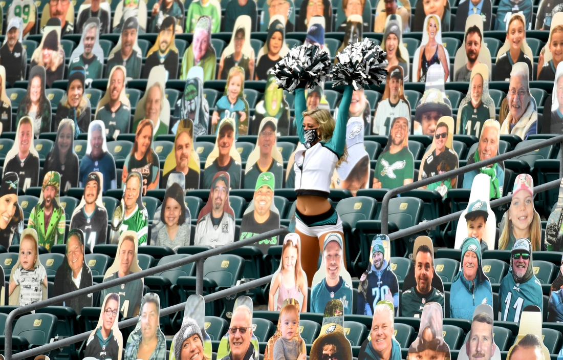 Sep 27, 2020; Philadelphia, Pennsylvania, USA; Philadelphia Eagles cheerleader in the stands during the second quarter against the Cincinnati Bengals at Lincoln Financial Field. Mandatory Credit: Eric Hartline-USA TODAY Sports