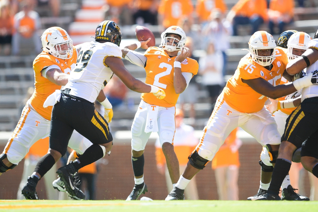 Oct 3, 2020; Knoxville, TN, USA;   Tennessee quarterback Jarrett Guarantano (2), throws a pass during the first quarter of a game between Tennessee and Missouri at Neyland Stadium in Knoxville, Tenn., Saturday, Oct. 3, 2020. Mandatory Credit:  Calvin Mattheis-USA TODAY NETWORK