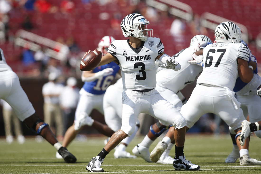 Oct 3, 2020; Dallas, Texas, USA; Memphis Tigers quarterback Brady White (3) throws a pass in the first quarter against the Southern Methodist Mustangs at Gerald J. Ford Stadium. Mandatory Credit: Tim Heitman-USA TODAY Sports
