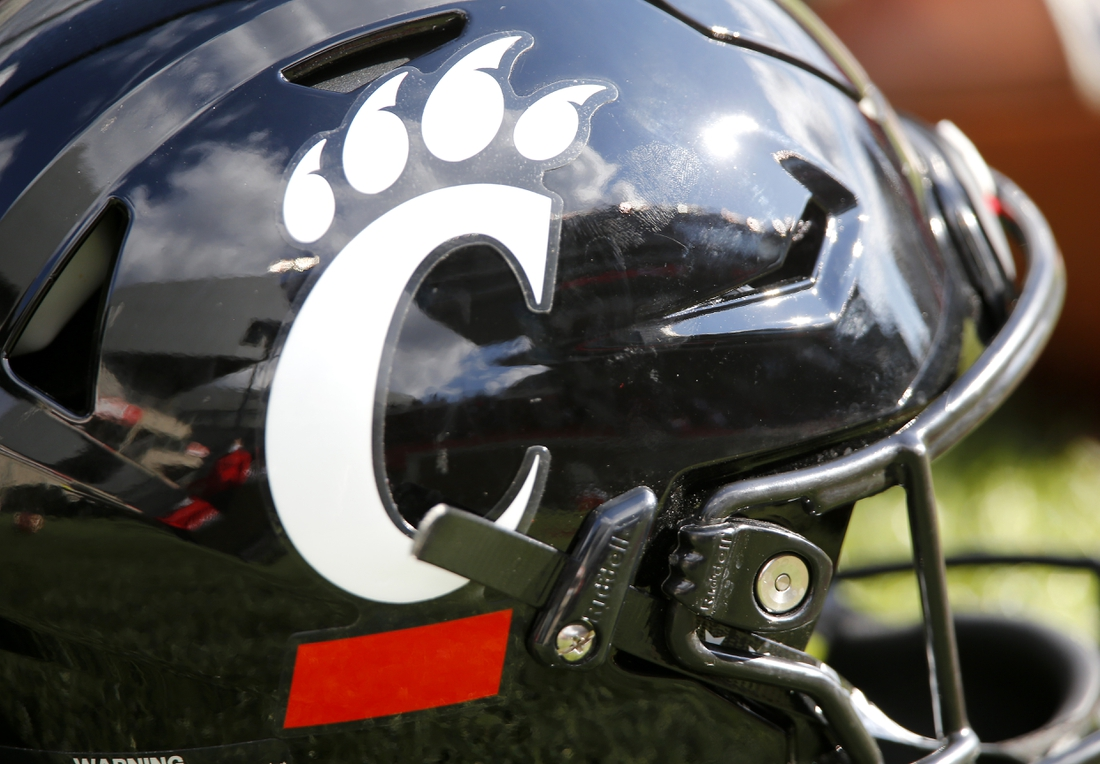 Oct 3, 2020; Cincinnati, OH, USA; Cincinnati Bearcats helmet during the game between the Cincinnati Bearcats and the South Florida Bulls at Nippert Stadium. Mandatory Credit: Joseph Maiorana-USA TODAY Sports