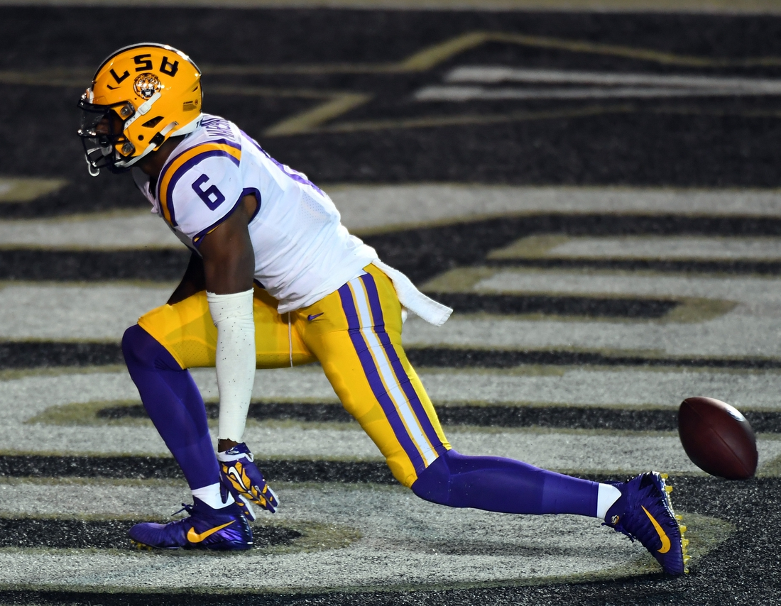 Oct 3, 2020; Nashville, Tennessee, USA; LSU Tigers wide receiver Terrace Marshall Jr. (6) celebrates after a touchdown during the first half against the Vanderbilt Commodores at Vanderbilt Stadium. Mandatory Credit: Christopher Hanewinckel-USA TODAY Sports