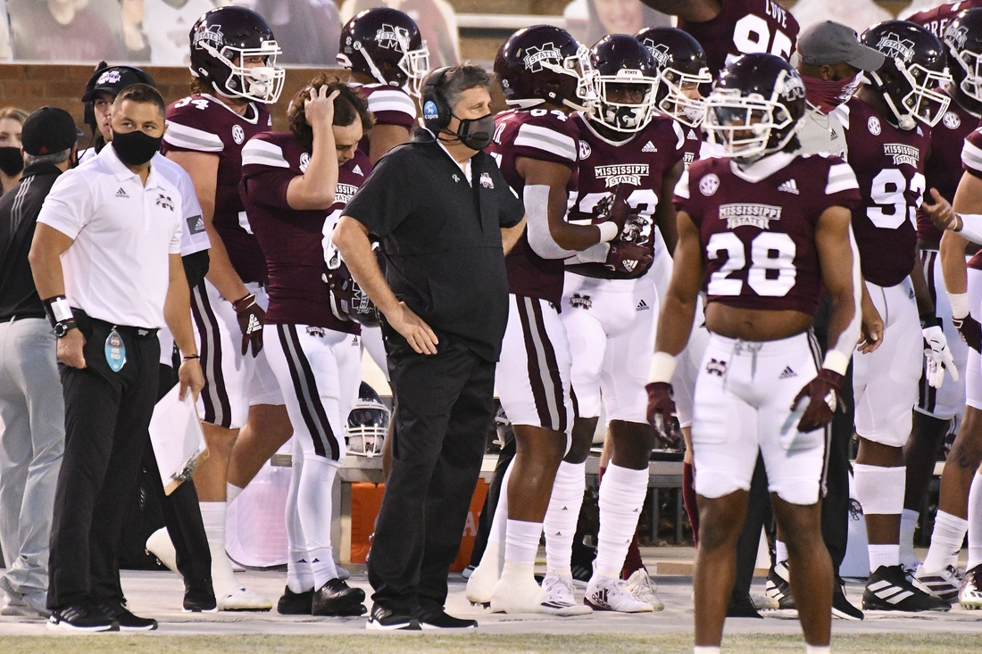 Oct 3, 2020; Starkville, Mississippi, USA; Mississippi State Bulldogs head coach Mike Leach stands on the sidelines during the first quarter of the game against the Arkansas Razorbacks at Davis Wade Stadium at Scott Field. Mandatory Credit: Matt Bush-USA TODAY Sports