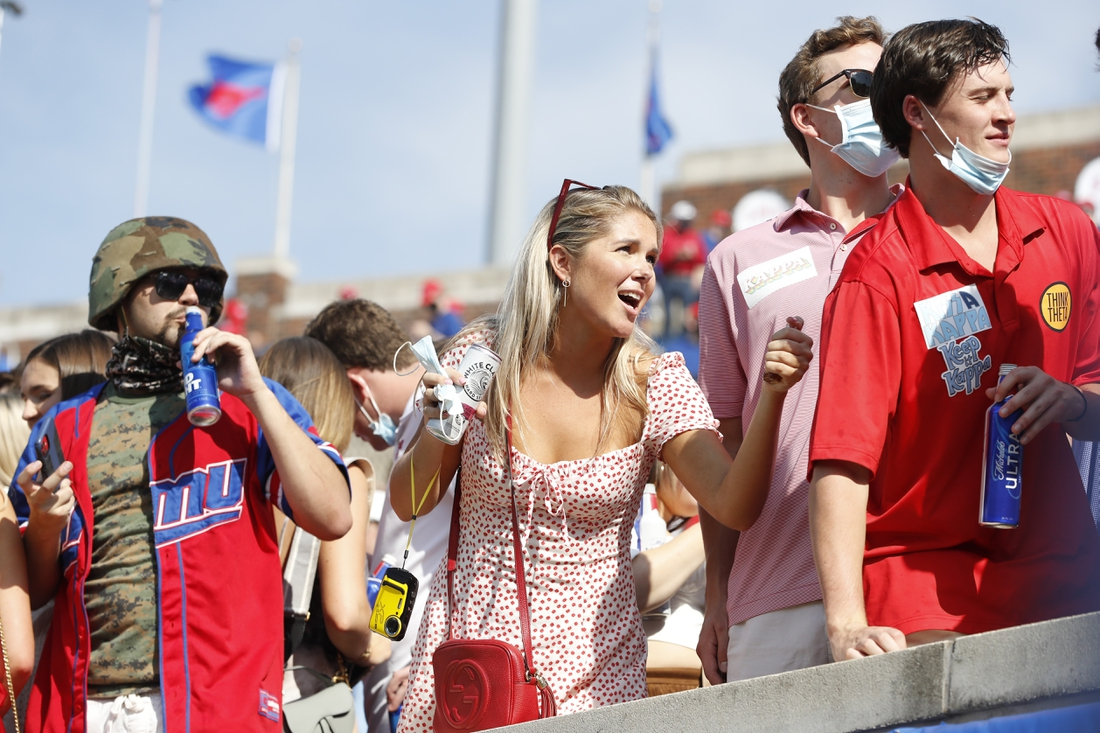 Oct 3, 2020; Dallas, Texas, USA; Southern Methodist Mustangs students in the stands during the game against the Memphis Tigers at Gerald J. Ford Stadium. Mandatory Credit: Tim Heitman-USA TODAY Sports