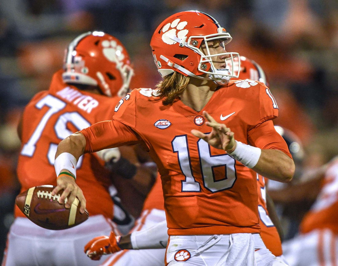 Oct 3, 2020; Clemson, SC, USA; Clemson quarterback Trevor Lawrence (16) throws during the second quarter of the game with Virginia on Saturday, October 3, 2020 at Memorial Stadium in Clemson, S.C. Mandatory Credit: Ken Ruinard-USA TODAY NETWORK