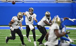 Oct 4, 2020; Detroit, Michigan, USA; New Orleans Saints quarterback Drew Brees (9) throws a pass against the Detroit Lio during the second quarter at Ford Field. Mandatory Credit: Tim Fuller-USA TODAY Sports