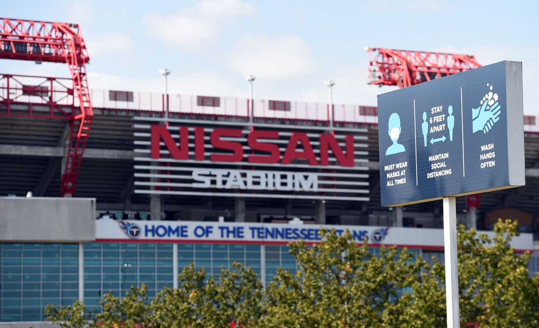 Oct 4, 2020; Nashville, Tennessee, USA;  COVID-19 signs are posted in the parking lot of Nissan Stadium. The Tennessee Titans game against the Pittsburgh Steelers game was rescheduled for October 25 at Nissan Stadium. Mandatory Credit: Christopher Hanewinckel-USA TODAY Sports