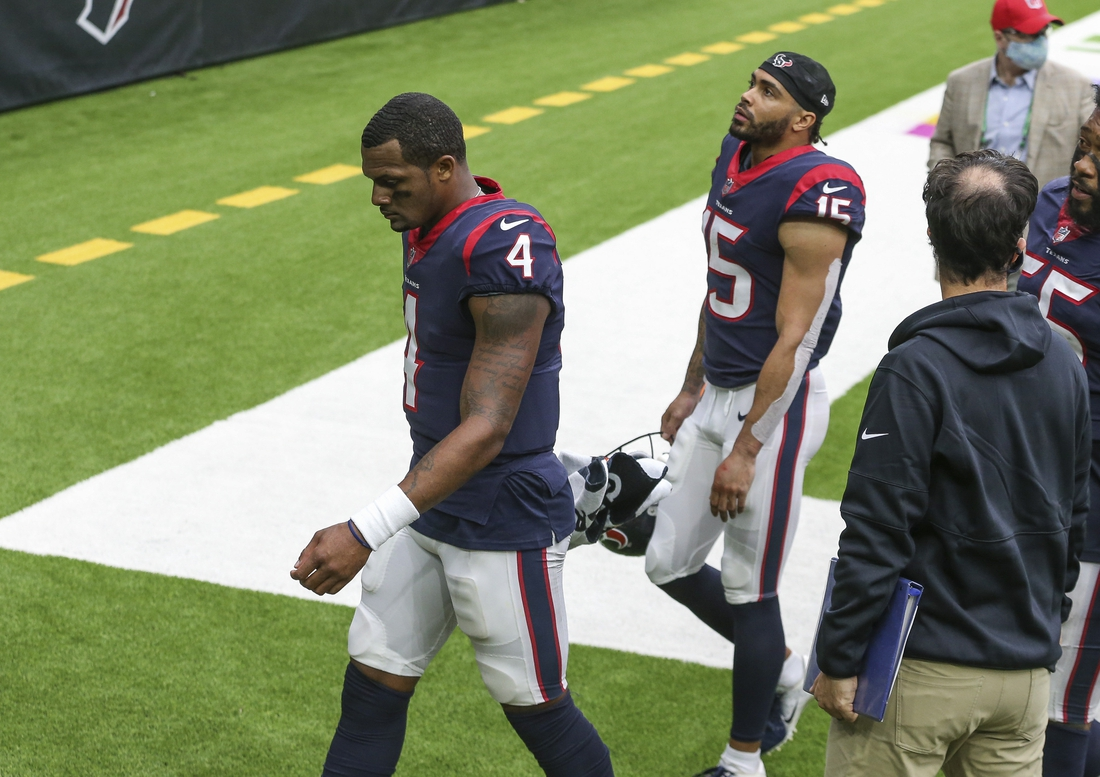 Oct 4, 2020; Houston, Texas, USA; Houston Texans quarterback Deshaun Watson (4) walks off the field after a loss to the Minnesota Vikings at NRG Stadium. Mandatory Credit: Troy Taormina-USA TODAY Sports