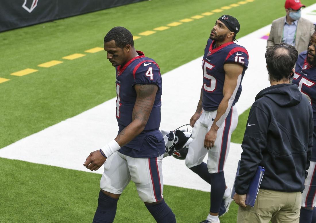 Oct 4, 2020; Houston, Texas, USA; Houston Texans quarterback Deshaun Watson (4) walks off the field after a loss to the Minnesota Vikings at NRG Stadium. Mandatory Credit: Troy Taormina-USA TODAY Sports