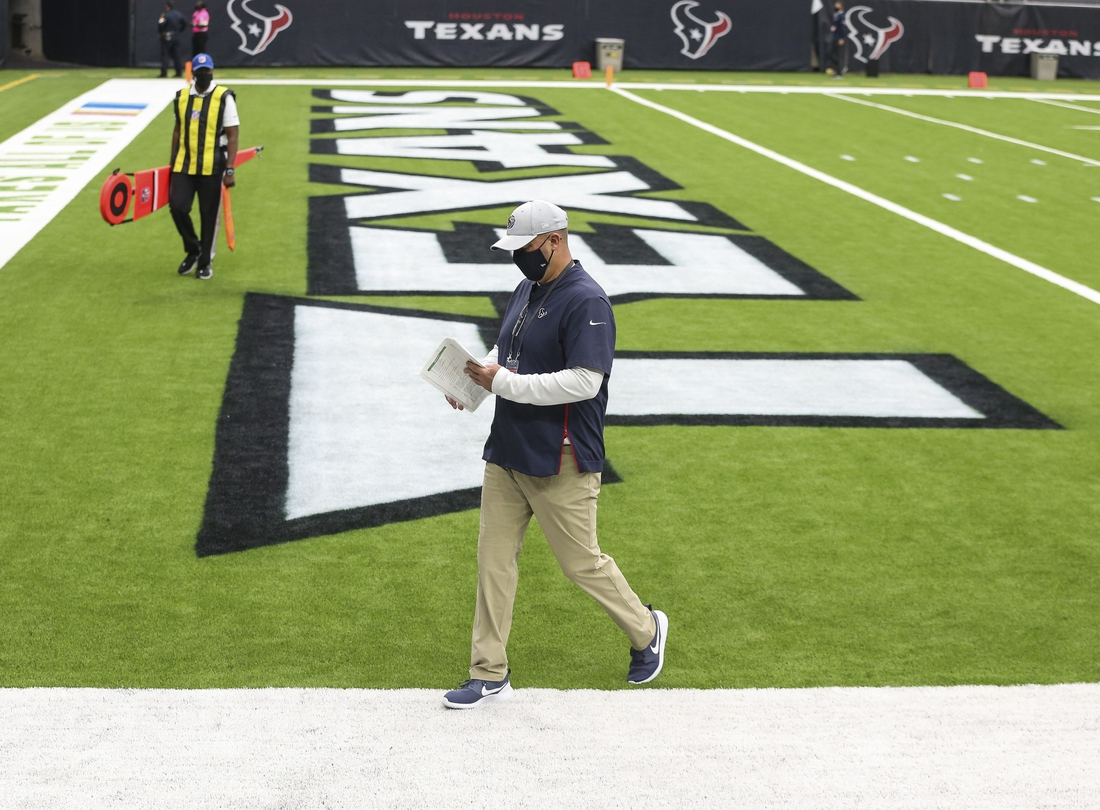 Oct 4, 2020; Houston, Texas, USA; Houston Texans head coach Bill O'Brien walks off the field after a loss to the Minnesota Vikings at NRG Stadium. Mandatory Credit: Troy Taormina-USA TODAY Sports