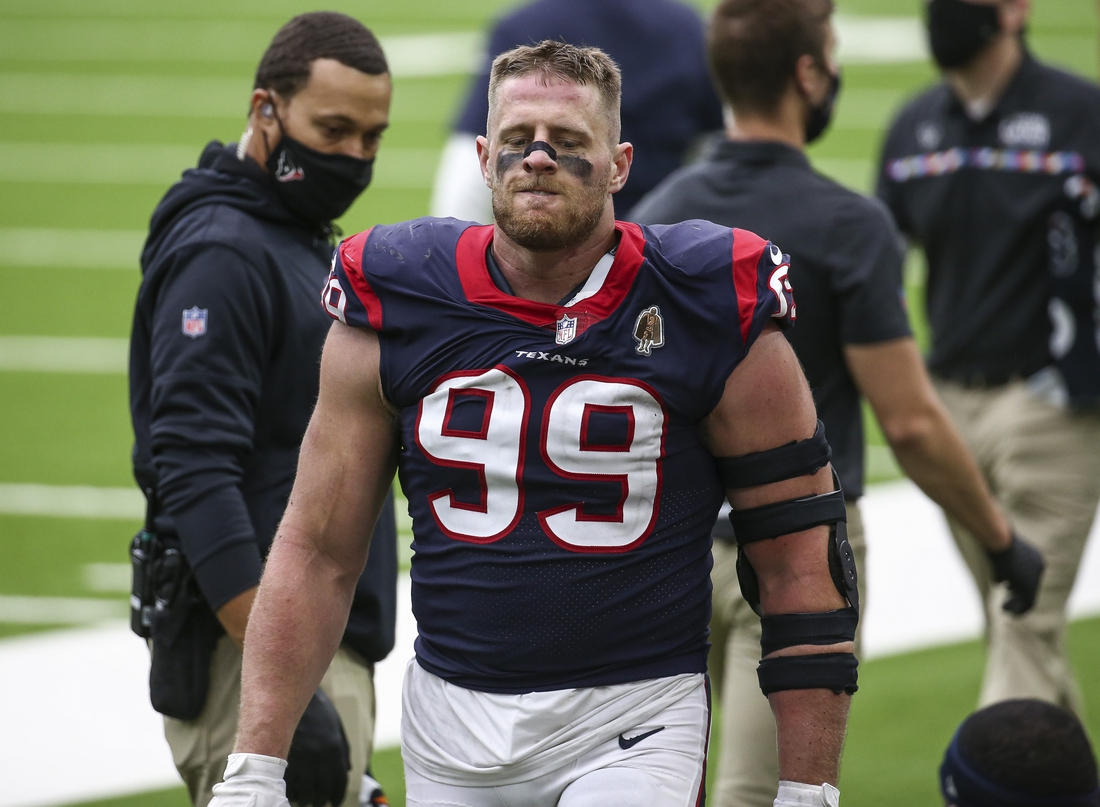 Oct 4, 2020; Houston, Texas, USA; Houston Texans defensive end J.J. Watt (99) reacts after a play against the Minnesota Vikings during the fourth quarter at NRG Stadium. Mandatory Credit: Troy Taormina-USA TODAY Sports