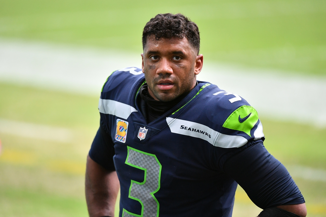 Oct 4, 2020; Miami Gardens, Florida, USA; Seattle Seahawks quarterback Russell Wilson (3) looks on after defeating the Miami Dolphins at Hard Rock Stadium. Mandatory Credit: Jasen Vinlove-USA TODAY Sports