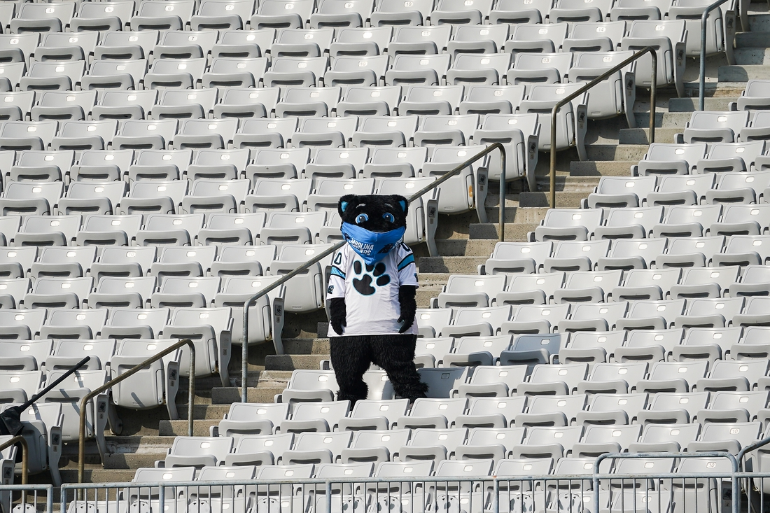 Oct 4, 2020; Charlotte, North Carolina, USA; Carolina Panthers Mascot Sir Purr alone in the stands due to Covid 19 precautions during the second half of a game between the Carolina Panthers and the Arizona Cardinals at Bank of America Stadium. Mandatory Credit: Jim Dedmon-USA TODAY Sports