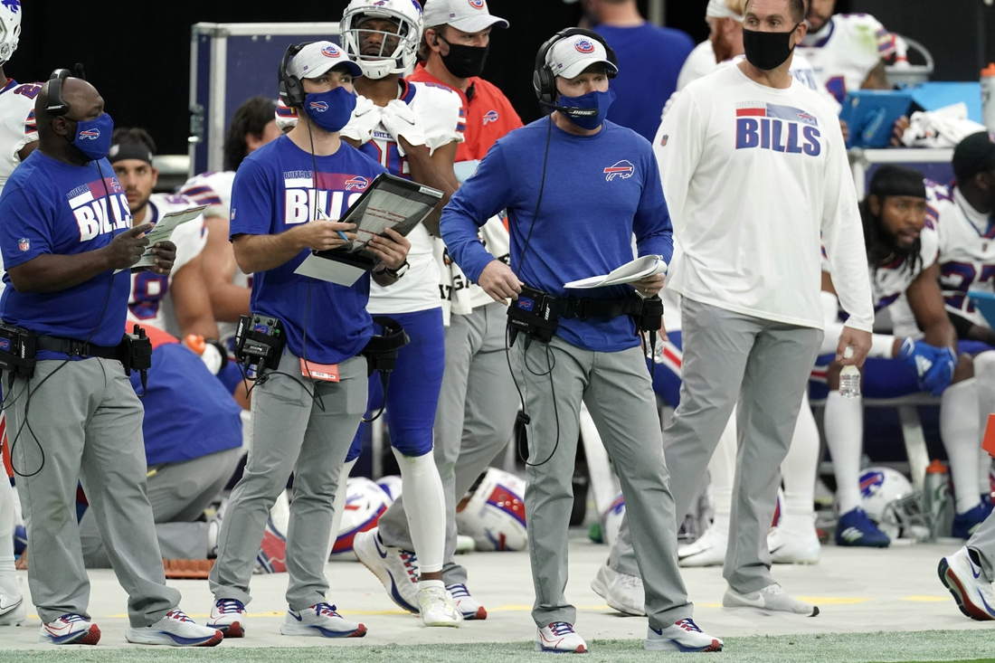 Oct 4, 2020; Paradise, Nevada, USA; Buffalo Bills coach Sean McDermott watches from the sidelines wearing a face mask in the first  half against the Buffalo Bills at Allegiant Stadium. The Bills defeated the Raiders 30-23. Mandatory Credit: Kirby Lee-USA TODAY Sports