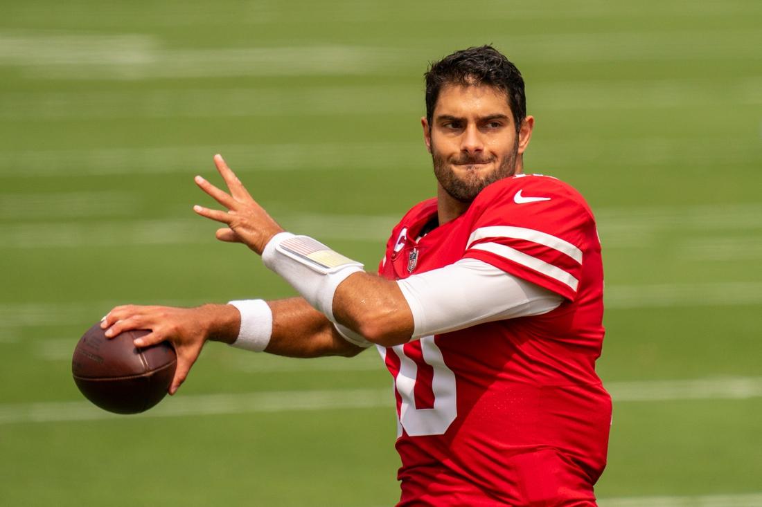 September 13, 2020; Santa Clara, California, USA; San Francisco 49ers quarterback Jimmy Garoppolo (10) before the game against the Arizona Cardinals at Levi's Stadium. Mandatory Credit: Kyle Terada-USA TODAY Sports