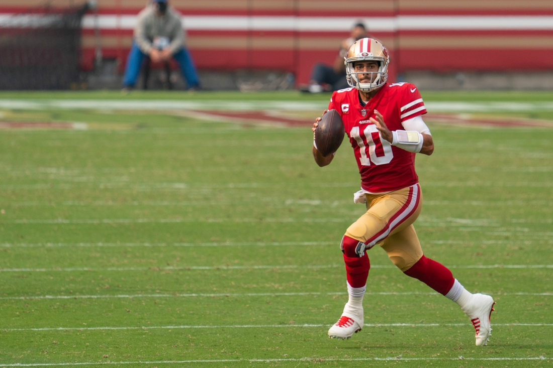 September 13, 2020; Santa Clara, California, USA; San Francisco 49ers quarterback Jimmy Garoppolo (10) during the fourth quarter against the Arizona Cardinals at Levi's Stadium. Mandatory Credit: Kyle Terada-USA TODAY Sports
