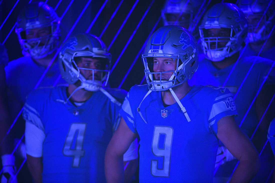 Oct 4, 2020; Detroit, Michigan, USA; Detroit Lions quarterback Matthew Stafford (9) during introductions before the game against the New Orleans Saints at Ford Field. Mandatory Credit: Tim Fuller-USA TODAY Sports