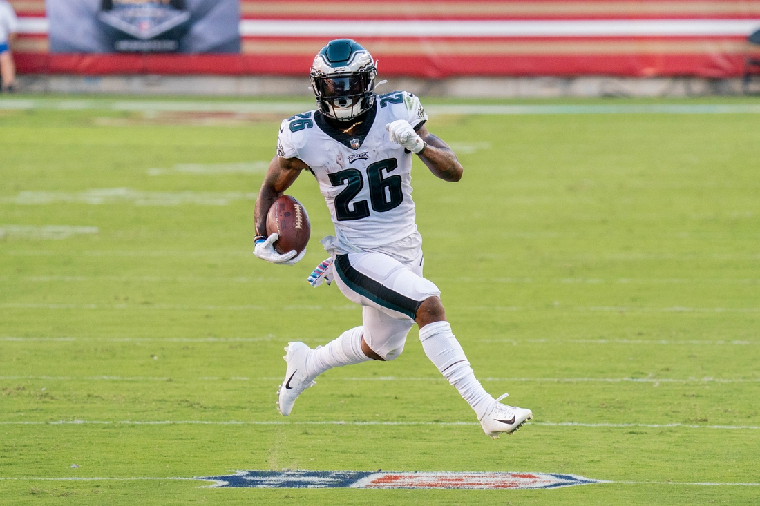 October 4, 2020; Santa Clara, California, USA; Philadelphia Eagles running back Miles Sanders (26) during the first quarter against the San Francisco 49ers at Levi's Stadium. Mandatory Credit: Kyle Terada-USA TODAY Sports
