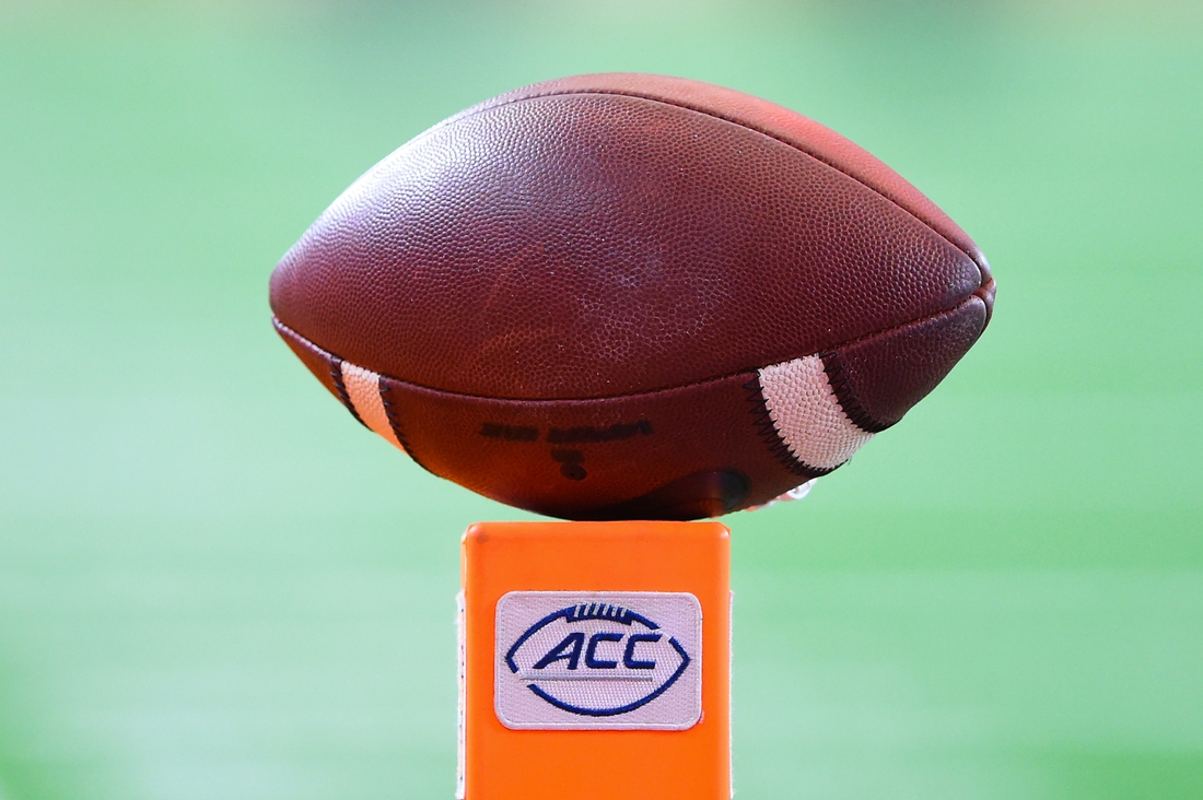 Oct 10, 2020; Syracuse, New York, USA; General view of a football on top of an end zone marker with the Atlantic Coast Conference logo displayed prior to the game against the Duke Blue Devils and the Syracuse Orange at the Carrier Dome. Mandatory Credit: Rich Barnes-USA TODAY Sports