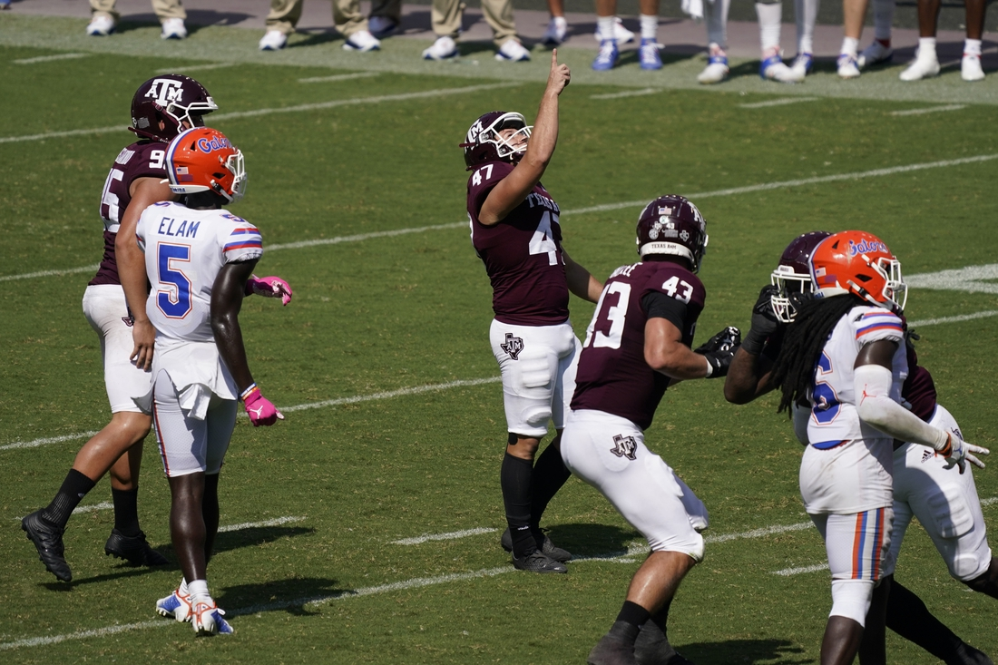 Oct 10, 2020; College Station, Texas, USA; Texas A&M Aggies kicker Seth Small (47) kicks the game winning field goal to defeat the Florida Gators at Kyle Field. Mandatory Credit: Scott Wachter-USA TODAY Sports
