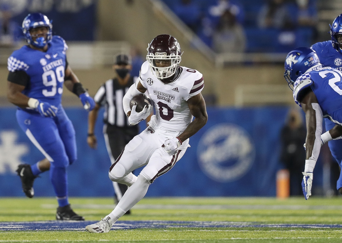 Oct 10, 2020; Lexington, Kentucky, USA; Mississippi State Bulldogs wide receiver JaVonta Payton (0) runs the ball against the Kentucky Wildcats in the first half at Kroger Field. Mandatory Credit: Katie Stratman-USA TODAY Sports
