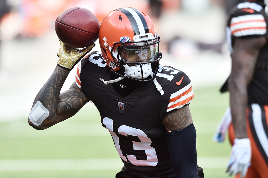 Oct 11, 2020; Cleveland, Ohio, USA; Cleveland Browns wide receiver Odell Beckham Jr. (13) warms up before the game between the Cleveland Browns and the Indianapolis Colts  at FirstEnergy Stadium. Mandatory Credit: Ken Blaze-USA TODAY Sports