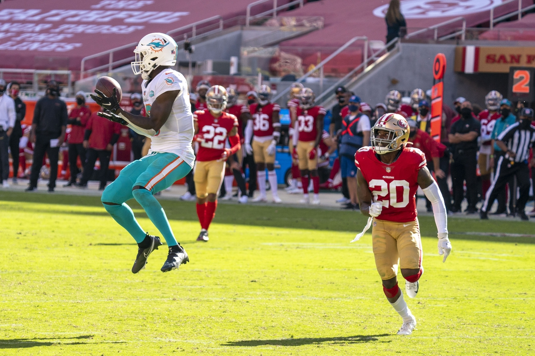 October 11, 2020; Santa Clara, California, USA; Miami Dolphins wide receiver Preston Williams (18) catches a touchdown pass against San Francisco 49ers free safety Jimmie Ward (20) during the third quarter at Levi's Stadium. Mandatory Credit: Kyle Terada-USA TODAY Sports