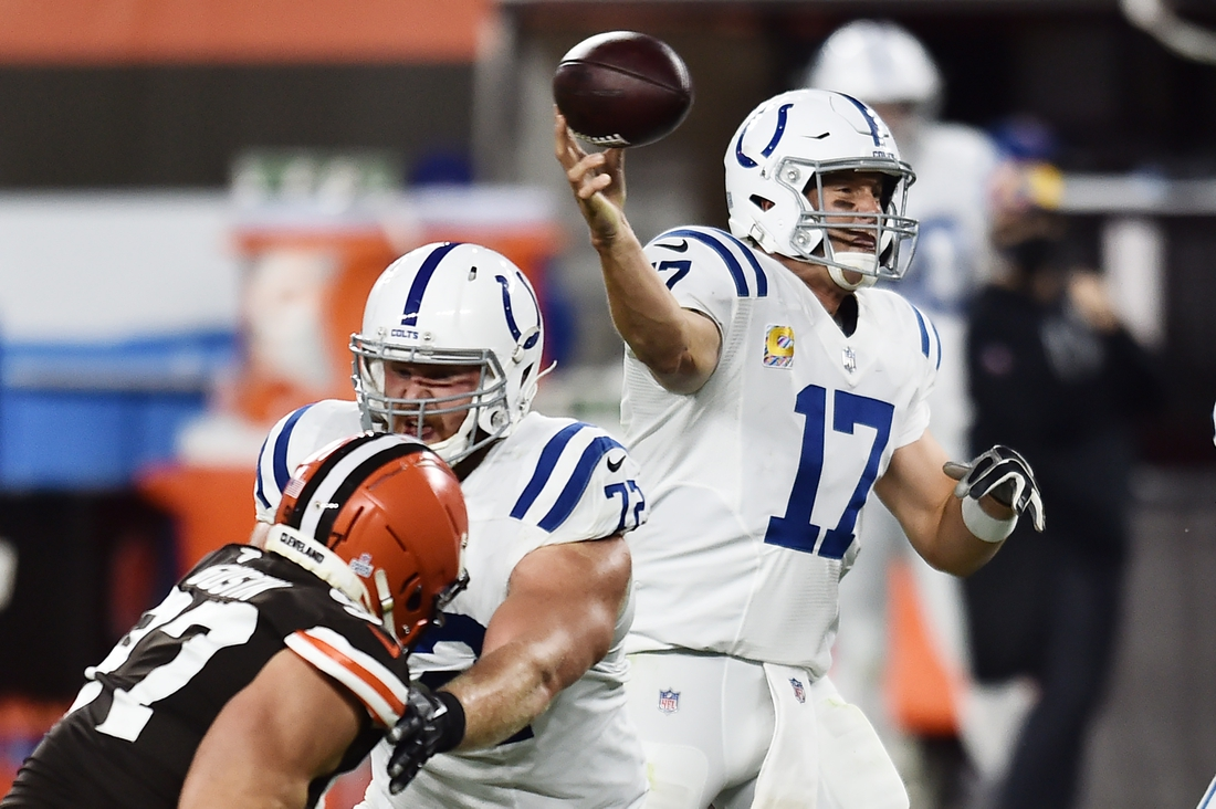 Oct 11, 2020; Cleveland, Ohio, USA; Indianapolis Colts quarterback Philip Rivers (17) throws a pass during the second half against the Cleveland Browns at FirstEnergy Stadium. Mandatory Credit: Ken Blaze-USA TODAY Sports