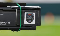 Oct 5, 2020; Green Bay, Wisconsin, USA;  The Monday Night Football logo on a television camera prior to the game between the Atlanta Falcons and Green Bay Packers at Lambeau Field. Mandatory Credit: Jeff Hanisch-USA TODAY Sports