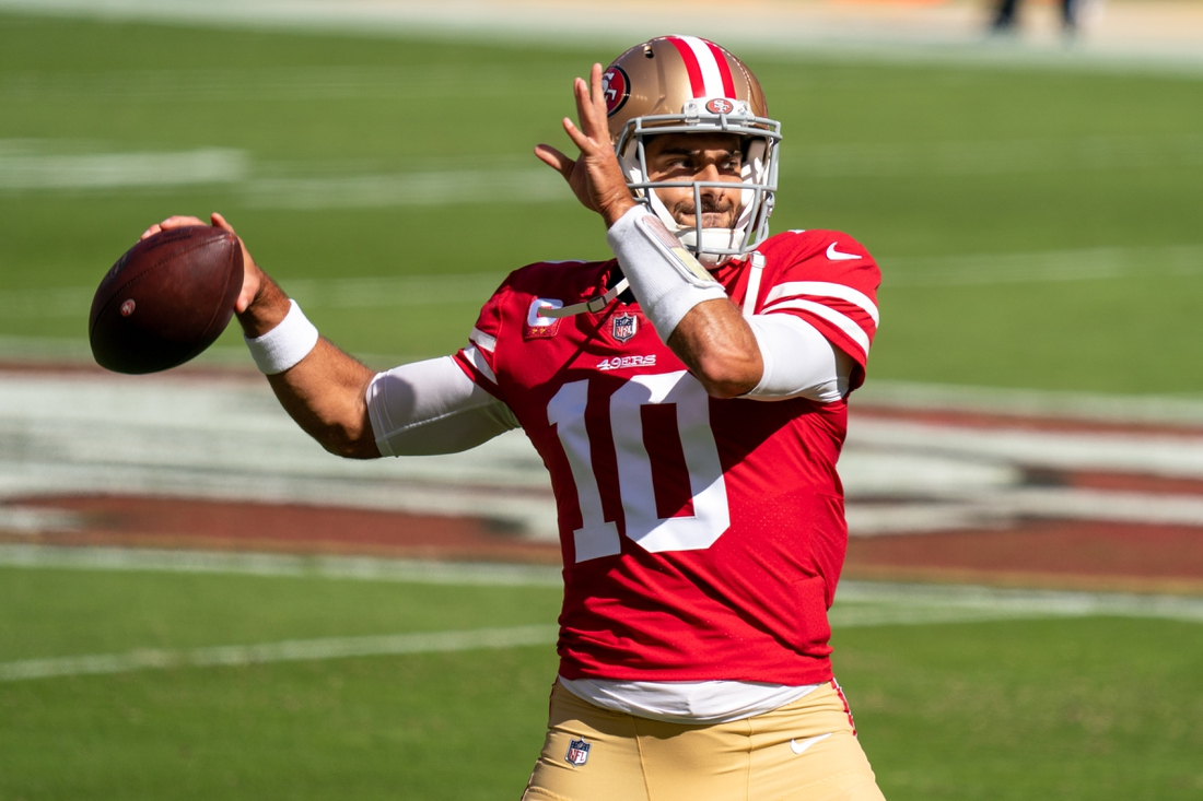 October 11, 2020; Santa Clara, California, USA; San Francisco 49ers quarterback Jimmy Garoppolo (10) before the game against the Miami Dolphins at Levi's Stadium. Mandatory Credit: Kyle Terada-USA TODAY Sports