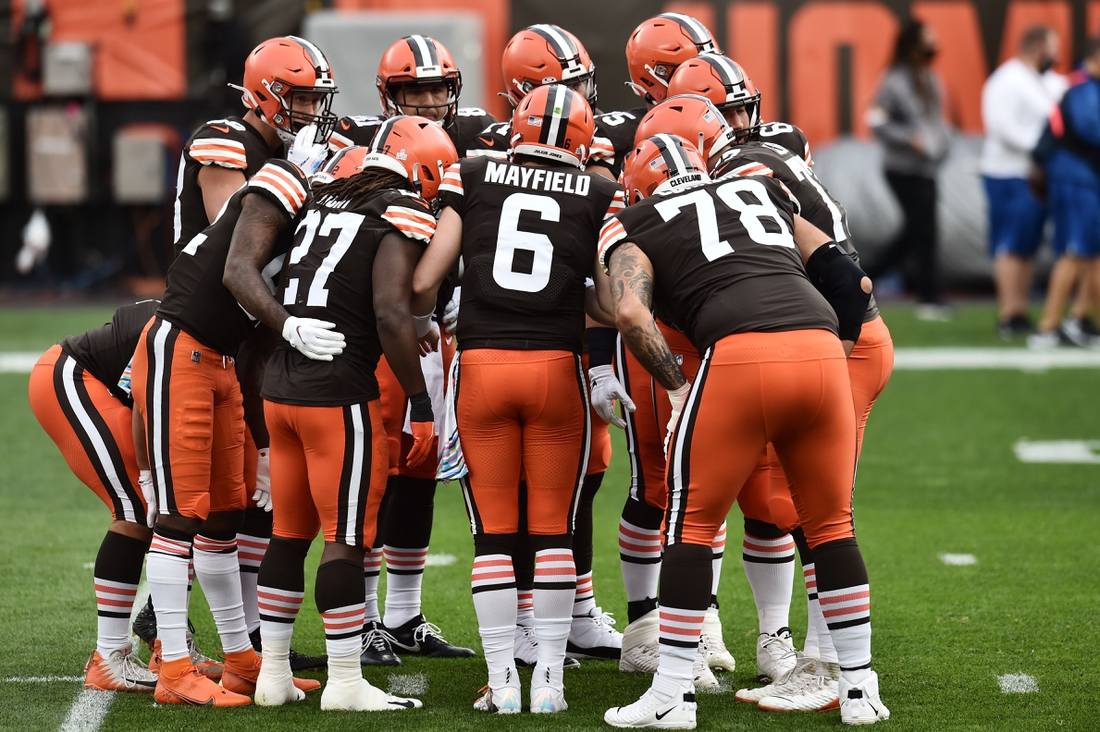 Oct 11, 2020; Cleveland, Ohio, USA; Cleveland Browns quarterback Baker Mayfield (6) calls a play in the huddle during the first half against the Indianapolis Colts at FirstEnergy Stadium. Mandatory Credit: Ken Blaze-USA TODAY Sports