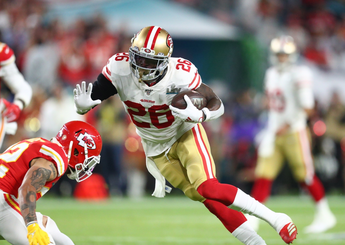 Feb 2, 2020; Miami Gardens, Florida, USA;  San Francisco 49ers running back Tevin Coleman (26) against the Kansas City Chiefs during Super Bowl LIV at Hard Rock Stadium. Mandatory Credit: Mark J. Rebilas-USA TODAY Sports
