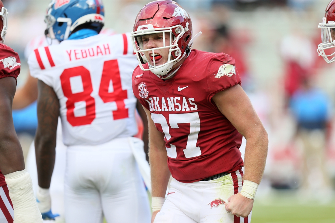 Oct 17, 2020; Fayetteville, Arkansas, USA; Arkansas Razorbacks linebacker Hayden Henry (27) reacts after a tackle in the second quarter against the Ole Miss Rebels at Donald W. Reynolds Razorback Stadium. Mandatory Credit: Nelson Chenault-USA TODAY Sports