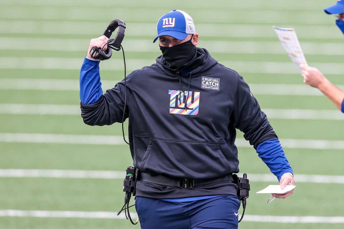 Oct 18, 2020; East Rutherford, New Jersey, USA; New York Giants head coach Joe Judge reacts against the Washington Football Team during the first half at MetLife Stadium. Mandatory Credit: Vincent Carchietta-USA TODAY Sports