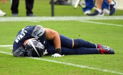 Oct 18, 2020; Nashville, Tennessee, USA; Tennessee Titans offensive tackle Taylor Lewan (77) on the field after an injury during the second half against the Houston Texans at Nissan Stadium. Mandatory Credit: Christopher Hanewinckel-USA TODAY Sports