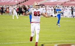 October 18, 2020; Santa Clara, California, USA; San Francisco 49ers tight end George Kittle (85) scores a touchdown against the Los Angeles Rams during the second quarter at Levi's Stadium. Mandatory Credit: Kyle Terada-USA TODAY Sports