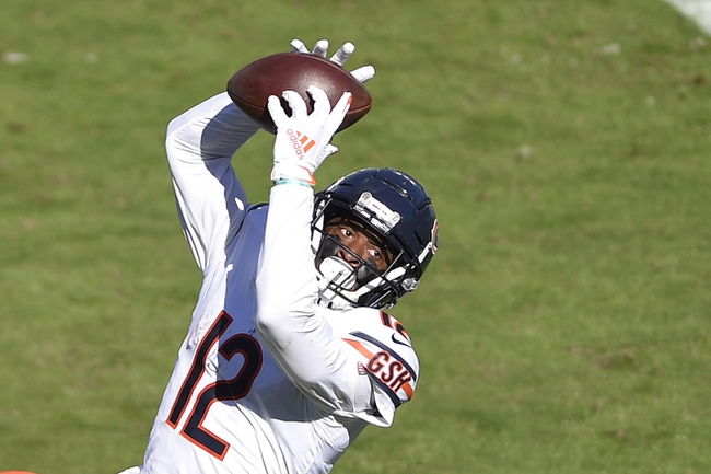 Oct 18, 2020; Charlotte, North Carolina, USA; Chicago Bears wide receiver Allen Robinson (12) catches the ball in the third quarter at Bank of America Stadium. Mandatory Credit: Bob Donnan-USA TODAY Sports