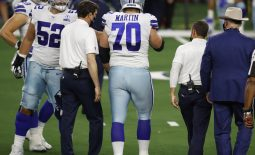 Oct 19, 2020; Arlington, Texas, USA;  Dallas Cowboys offensive guard Zack Martin (70) leaves the field in the first quarter against the Arizona Cardinals at AT&T Stadium. Mandatory Credit: Tim Heitman-USA TODAY Sports