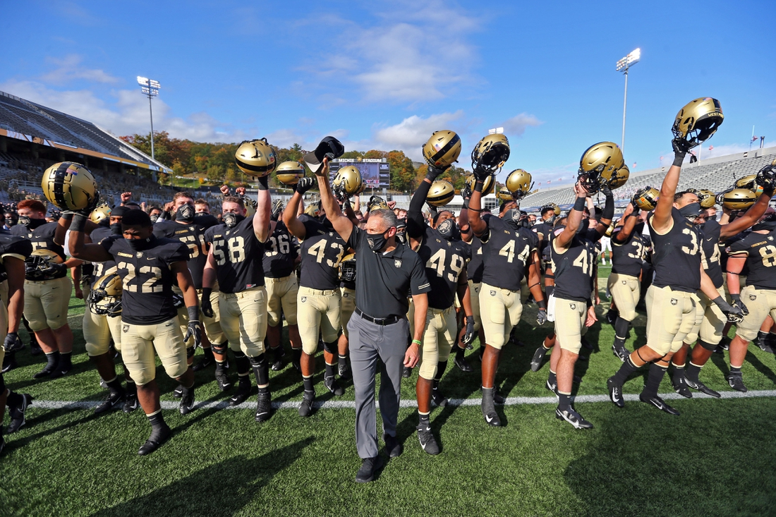 Oct 24, 2020; West Point, New York, USA; Army Black Knights head coach Jeff Monken celebrates the 49-3 victory against the Mercer Bears at Michie Stadium. Mandatory Credit: Danny Wild-USA TODAY Sports