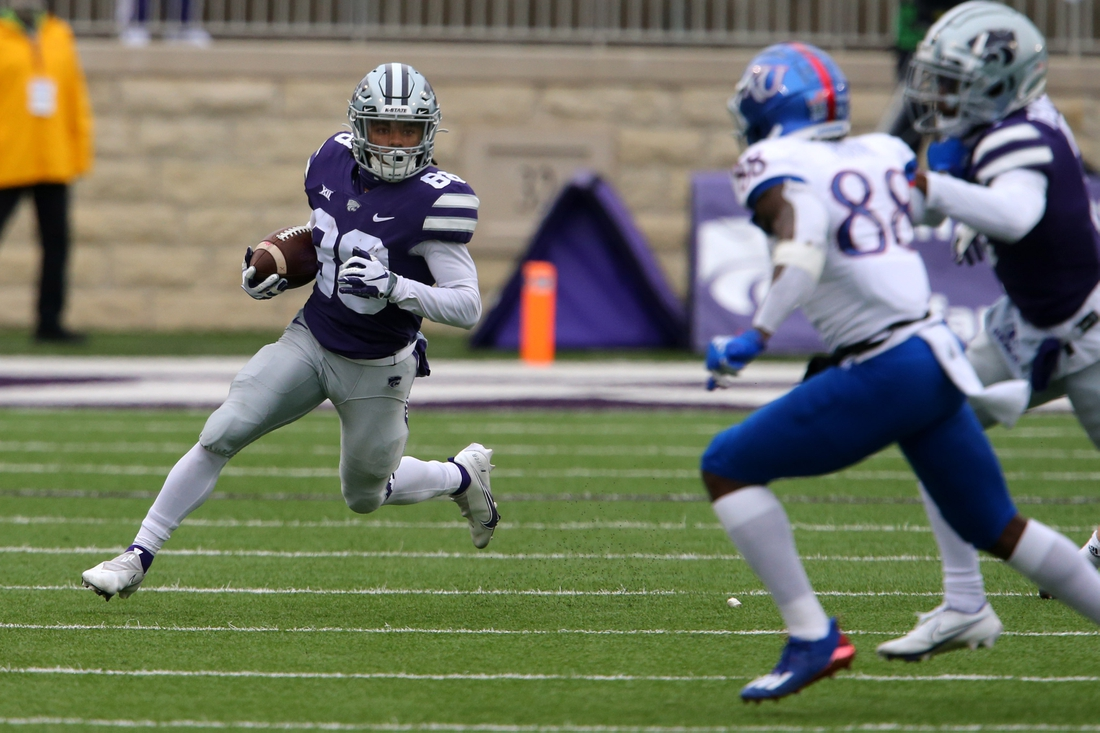 Oct 24, 2020; Manhattan, Kansas, USA; Kansas State Wildcats wide receiver Phillip Brooks (88) looks for room to run during a punt return during a game against the Kansas Jayhawks at Bill Snyder Family Football Stadium. Mandatory Credit: Scott Sewell-USA TODAY Sports