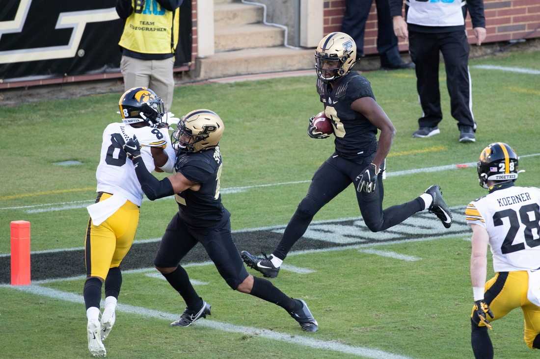 Oct 24, 2020; West Lafayette, Indiana, USA; Purdue Boilermakers wide receiver David Bell (3) runs for a touchdown in the second quarter against the Iowa Hawkeyes at Ross-Ade Stadium. Mandatory Credit: Trevor Ruszkowski-USA TODAY Sports