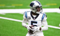 Oct 25, 2020; New Orleans, Louisiana, USA; Carolina Panthers quarterback Teddy Bridgewater (5) warms up prior to kickoff against the New Orleans Saints at the Mercedes-Benz Superdome. Mandatory Credit: Derick E. Hingle-USA TODAY Sports