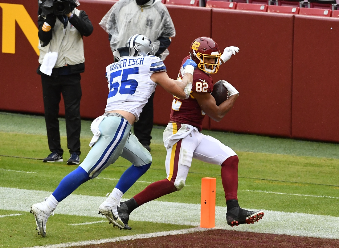 Oct 25, 2020; Landover, Maryland, USA; Washington Football Team tight end Logan Thomas (82) scores a touchdown  as Dallas Cowboys linebacker Leighton Vander Esch (55) defends during the first half at FedExField. Mandatory Credit: Brad Mills-USA TODAY Sports