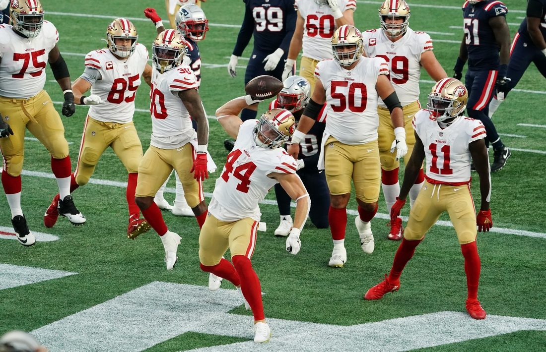 Oct 25, 2020; Foxborough, Massachusetts, USA; San Francisco 49ers fullback Kyle Juszczyk (44) celebrates his touchdown against the New England Patriots in the first half at Gillette Stadium. Mandatory Credit: David Butler II-USA TODAY Sports